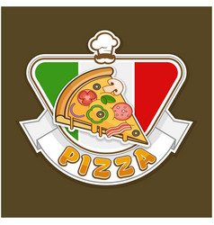 Pizza sticker vector