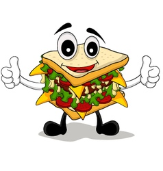 Sandwich cartoon thumb up vector