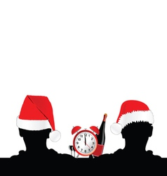 Two man silhouette with red hat and clock vector