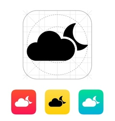 Cloudy night weather icon vector