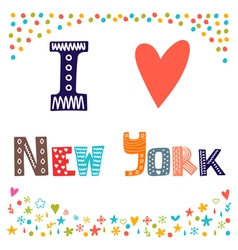 I love new york cute postcard greeting card from vector