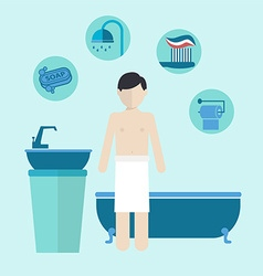 Morning personal hygiene and care vector
