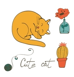a cat sleeping  flower in glass vector image