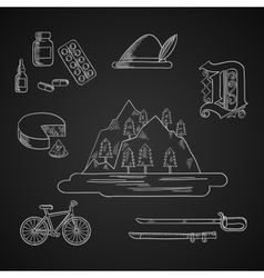 German culture and history icons vector