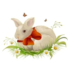 Cute rabbit with bow sitting on grass easter vector
