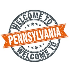 Welcome to pennsylvania orange round ribbon stamp vector