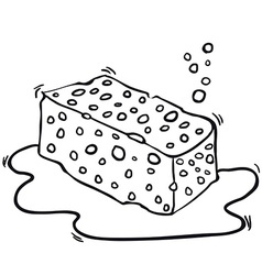 Black and white freehand drawn cartoon sponge vector