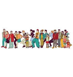 Big group people standing queue tail waiting line vector