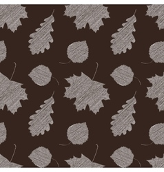 Scribble leaves seamless autumn pattern vector