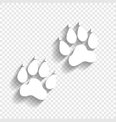 Animal tracks sign white icon with soft vector
