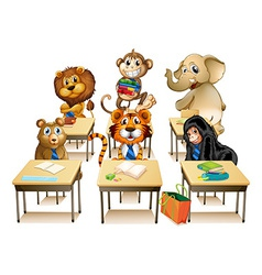 Animals in classroom vector image vector image