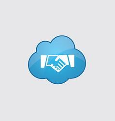 Blue cloud handshake icon vector