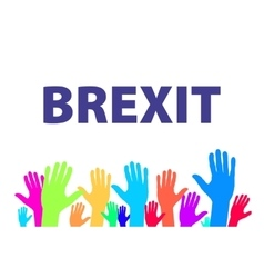 Brexit text isolated colorfull hand vector