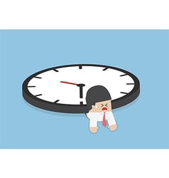 Businessman under the big clock deadline vector