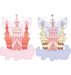 cartoon fairy castle set vector image vector image