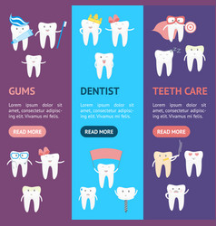 cartoon tooth banner vecrtical set vector image