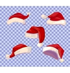 Cartoone Santa hats set vector image