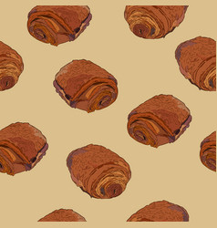 chocolate croissants pain au chocolat hand draw vector image vector image