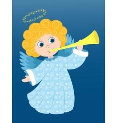 Christmas angel plays vector image vector image