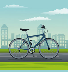 Color background city landscape with bicycle vector
