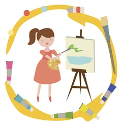 Composition with girl artist vector