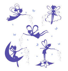 Fairy silhouette set vector