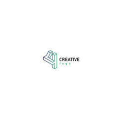geometric 3d logotype in a gradient style vector image
