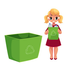 Girl throwing plastic bottles into trash bin vector