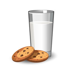 glass of milk and cookies vector image vector image