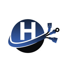 Global electricity letter h vector