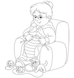 Granny knitting vector image vector image
