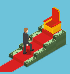 Isometric businessman walking up to king throne vector