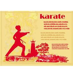 Karate grunge card vector
