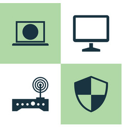Laptop icons set collection of desktop defense vector