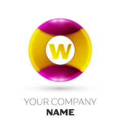 Letter w logo symbol in the colorful circle vector