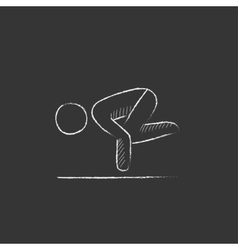 Man practicing yoga Drawn in chalk icon vector image vector image