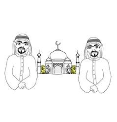 Muslim praying at Medina holy Islamic city vector image