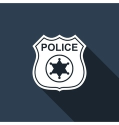 Police badges icon with long shadow vector