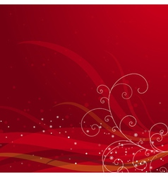 red christmas background with snowflakes vector image