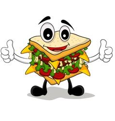 sandwich cartoon thumb up vector image vector image