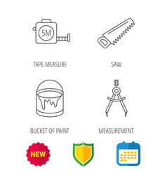 Tape measure saw and bucket of paint icons vector
