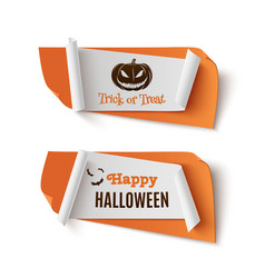 two orange halloween treat or trick abstract vector image