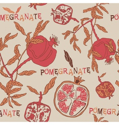 Vintage pomegranate pattern background vector