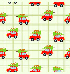 winter tree on car roof green checkered seamless vector image vector image