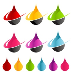 Colorful swoosh raindrop logo icons vector