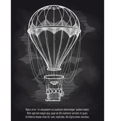 Sketch hot air balloon on blackboard vector image