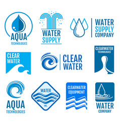Fresh water logos and labels set with aqua vector