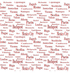 Seamless text pattern with name of city vector