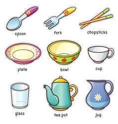 tableware vocabulary vector image