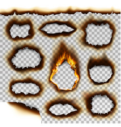 Collection of burnt faded holes piece burned paper vector